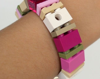 Pretty in Pink - 1 x 2 Bracelet made with LEGO® - Jewelry made with LEGO® - Bracelet made with LEGO®