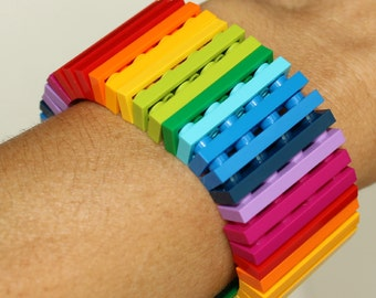 Rainbow - 1 x 4 Bracelet made with LEGO® - Jewelry made with LEGO® -Bracelet made with LEGO®