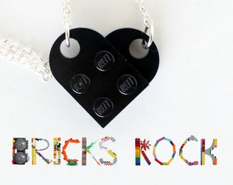 Black Heart Necklace - Jewelry made with LEGO® pieces -Valentine's Day necklace