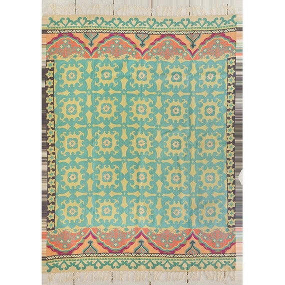 2X3 Hand Knotted Wool Geometric Blue Rug And Teal Rug
