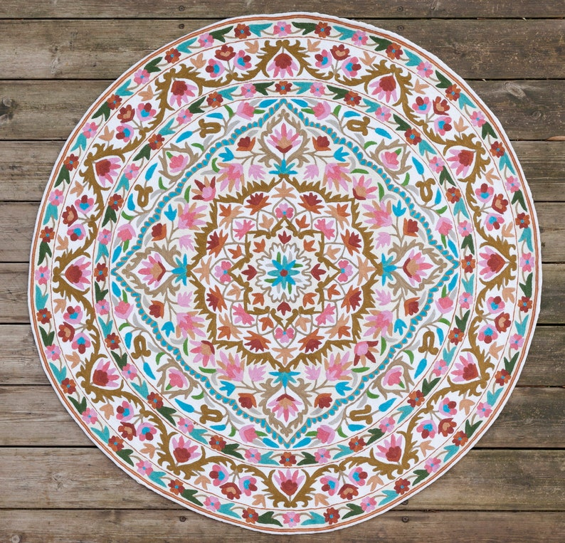 4 Ft And 5ft Round Area Rug Beautiful Crochet Round Flower Etsy