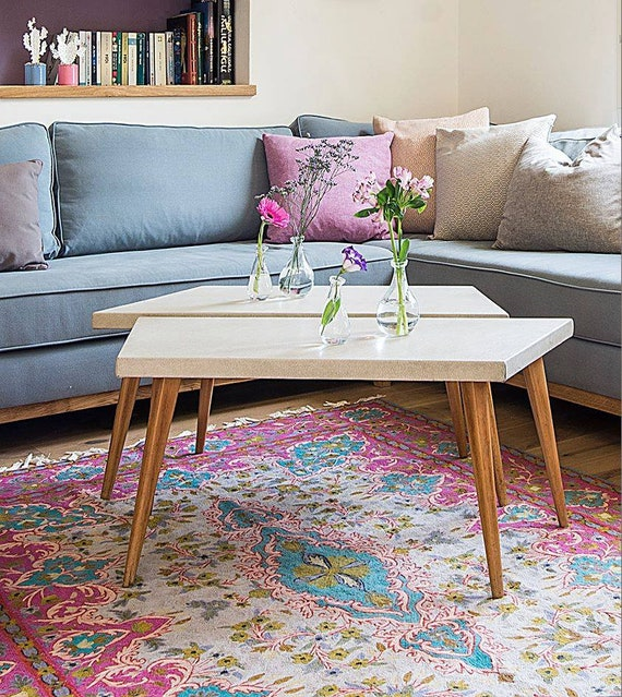 Contemporary 6X9 pink rug with turquoise & aqua colors rug made of wool. A  striking living room rug design.