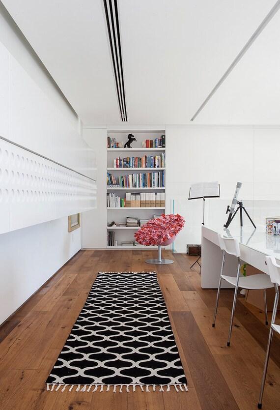 Flur Teppiche Teppich Läufer Schwarz Weiß Abgepasst Moderne | Etsy