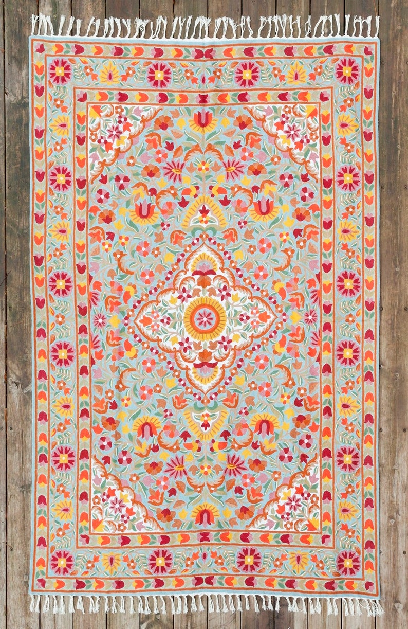 4x6 Hand Knotted Blue Wool Rug Very Flowery Modern Rug Available As 5x7 Area Rug And Other Sizes