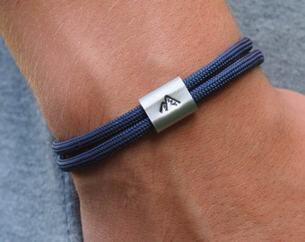 Bracelet mountains, dark blue, gift for mountaineers and hikers, stamped according to customer requirements, jewelry box