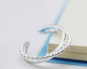 925 Sterling Silver Twisted Rope Silver Ring