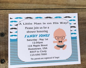 Personalized Baby Shower Invitations Custom Invitations Baby Boy Invitations Little Man Invitations