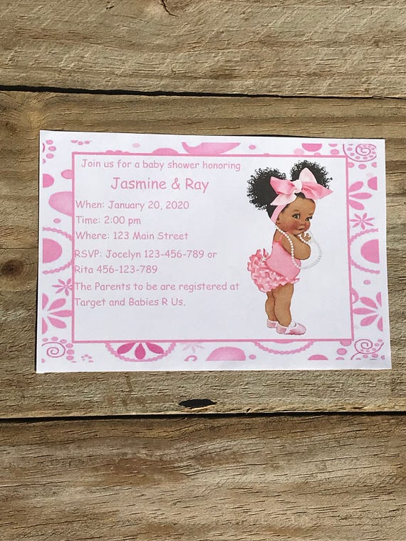 Personalized baby shower invitation african american girl etsy image 0 filmwisefo