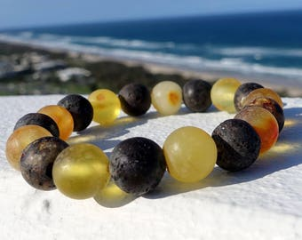 Amber Jewelry, Amber Bracelet, Unpolished Natural Baltic Amber, Round Beaded Stretchy Baltic Amber Bracelet, 12 mm Ball