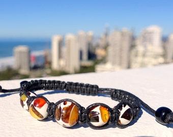 Beaded Amber Bracelet, Macrame Amber Bracelet, Mosaic Amber Bracelet, Amber Bracelet, Woven And Braided Bracelet