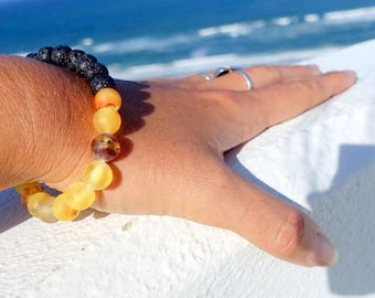 Lava And Baltic Amber Round Beaded Bracelet, Unpolished Baltic Amber Jewelry, Gemstone Bracelet