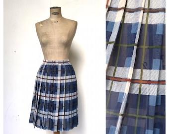 Cacharel Sheer Tartan Pleated French Vintage Skirt M