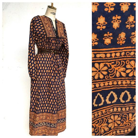 1970 s Indian Block Print Hand Print Boho Batik Dr