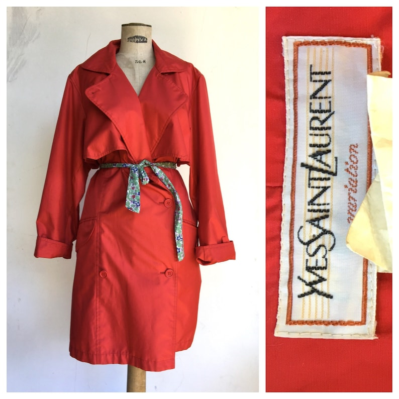 03ecbcb28e5 Yves Saint Laurent YSL 1980 s Mackintosh Raincoat Cherry Red | Etsy
