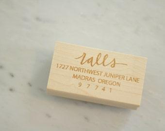 Personalized Last Name Return Address Calligraphy Hand Lettered 1.25x2.5 Stamp Envelope Addressing Wedding Invitations ThankYou Note Wedding