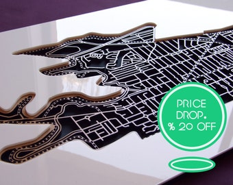 20% OFF this fascinating laser cut map of Kew 3101 in matte black. !!