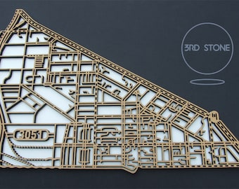 North Melbourne 3051, Victoria. Laser cut, street map, wall decoration in MDF & coloured acrylics.