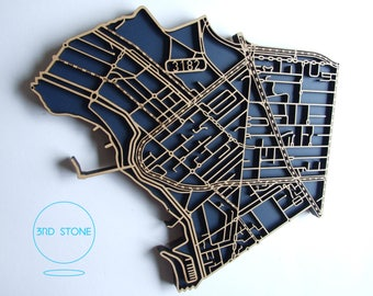 St Kilda, 3182, Victoria. Superb, laser cut, suburb map decoration in MDF