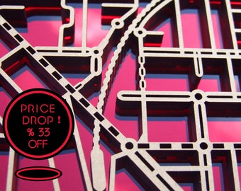 33% OFF this magnificent, laser cut map of Essendon in red mirror and black acrylic.