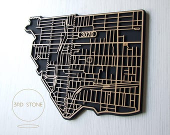 Northcote, 3070 Victoria. Laser cut, street map, wall decoration.