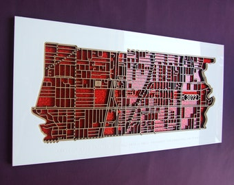 Preston 3072, Victoria. Laser cut, street map, wall decoration in MDF & coloured acrylics.