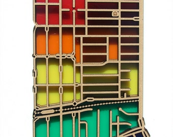 Fairfield 3078, Victoria. Laser cut, street map, wall decoration in MDF & coloured acrylics.