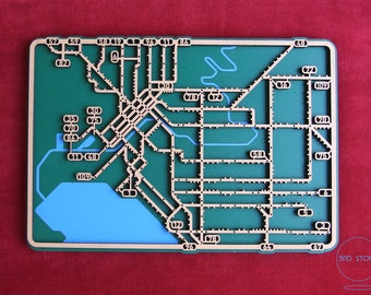 Melbourne Tram Network. Laser cut, street map, wall decoration.