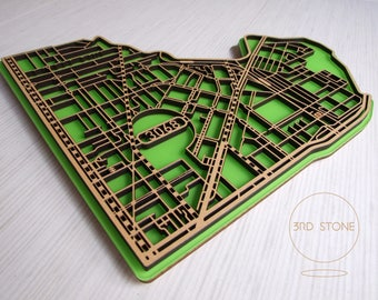 Nth Fitzroy / Clifton Hill 3068, Victoria. Superb, laser cut, suburb map decoration in MDF & coloured acrylics