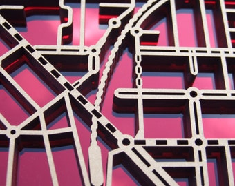 Essendon 3040   Superb, laser cut wall decoration in MDF, red mirror & black acrylic.