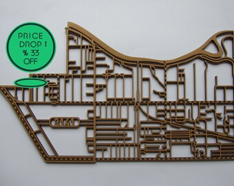 33% off !! Sth Yarra, Victoria. Laser cut, street map, wall decoration in 6mm MDF.