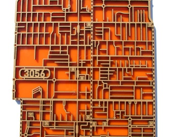 Brunswick 3056, Victoria. Laser cut, street map, wall decoration in MDF & coloured acrylics.