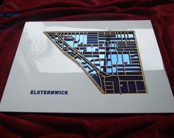 Elsternwick 3185, Victoria. Laser cut, street map, wall decoration in MDF & coloured acrylics.