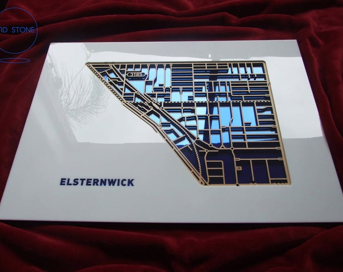 Featured listing image: Elsternwick 3185, Victoria. Laser cut, street map, wall decoration in MDF & coloured acrylics.