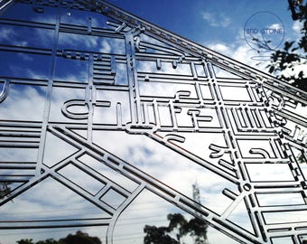 North Melbourne 3051, Victoria. Laser cut, street map, wall decoration in crystal clear acrylic.
