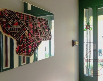 Ascot Vale 3032 and surrounds, Victoria. Laser cut, street map, wall decoration in MDF & coloured acrylics.