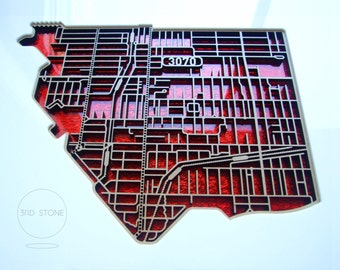 Northcote 3070, Victoria. Laser cut, street map, wall decoration in MDF & red fabric-infused acrylic.