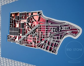 Footscray 3011 , Victoria. Laser cut, street map, wall decoration in MDF & coloured acrylics.