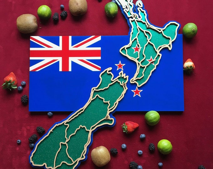 Featured listing image: New Zealand. Laser cut, flag /  map, wall decoration.