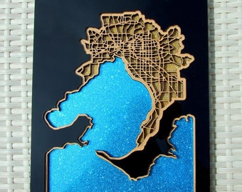 Melbourne city, bay & surrounds - Superb laser cut  wall decoration.