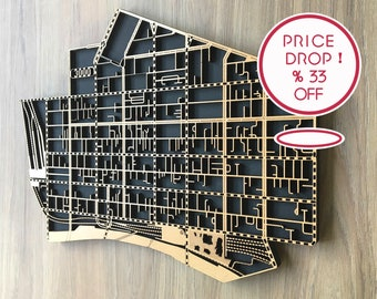 33% OFF matte black  laser cut map of Melbourne CBD 3000