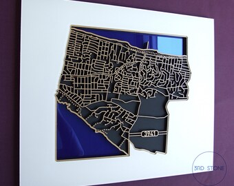 Incredible laser cut map of Rye 3941. Wall decoration