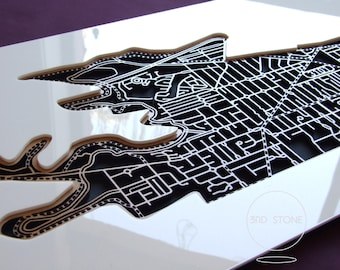 Kew 3101, Victoria. Laser cut, street map, wall decoration in MDF & coloured acrylics.