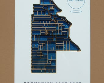 East Brunswick 3057, Victoria. Laser cut, street map, with inlaid lettering.