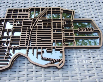 Yarraville 3013, Victoria. Laser cut, street map, wall decoration in MDF & coloured acrylics.