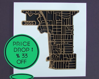 West Brunswick 3055, Victoria. Laser cut, street map, wall decoration in MDF & coloured acrylics.