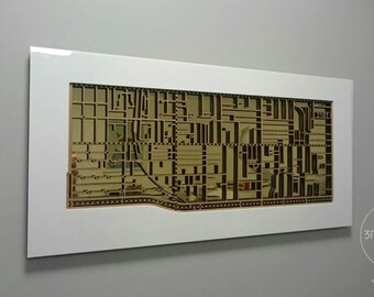 Prahran / Windsor 3181, Victoria. Laser cut, street map, wall decoration in MDF & coloured acrylics.