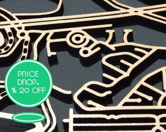 20% OFF !! Kew 3101, Victoria. Laser cut, street map, wall decoration in MDF & coloured acrylics.