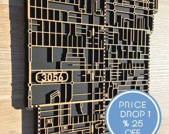 25% OFF this fantastic laser-cut map Brunswick 3056 with matte black background.