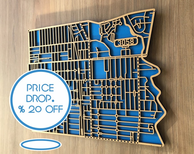 Featured listing image: Coburg 3058, Victoria. Laser cut, street map, wall decoration in MDF & coloured acrylics.