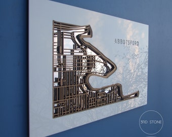 Abbotsford. Superb, laser cut wall decoration in silver mirror, white acrylic & MDF.